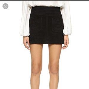 Free people black suede miniskirt